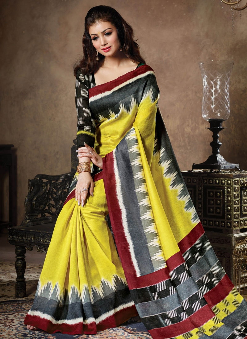 Staggering Yellow Color Ayesha Takia Casual Saree