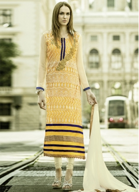 Staggering Yellow Color Lace Work Party Wear Suit