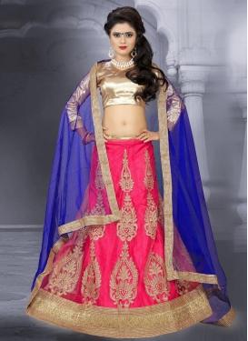 Staring Blue and Rose Pink Booti Work Trendy Lehenga