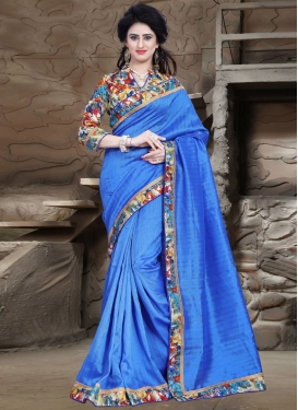 Staring Blue Color Bhagalpuri Silk Casual Saree