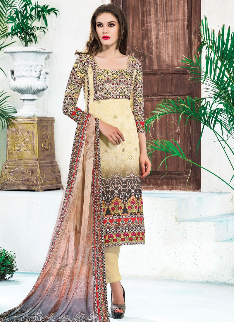 Staring Cream Color Pant Style Party Wear Suit