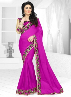 Staring Embroidered Work Faux Chiffon Black and Magenta Traditional Saree