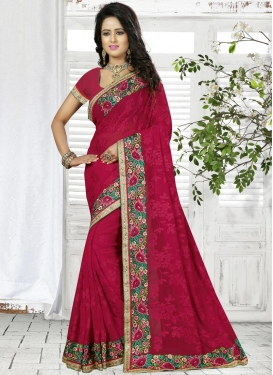 Staring Faux Georgette Aari Work Classic Saree For Ceremonial