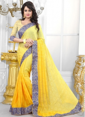 Staring  Jacquard Lace Work Contemporary Style Saree