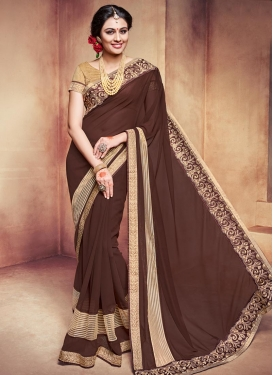 Staring Lace Work Faux Georgette Designer Contemporary Style Saree