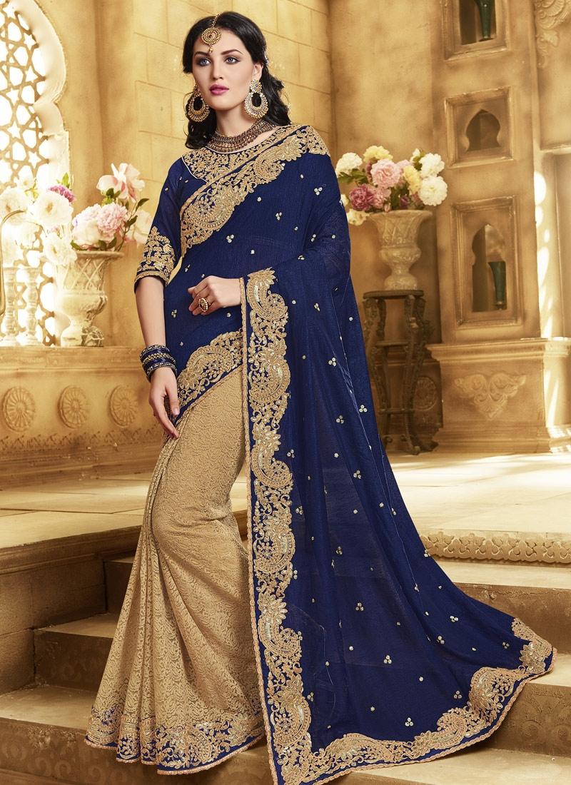 Staring Navy Blue Color Silk Half N Half Wedding Saree