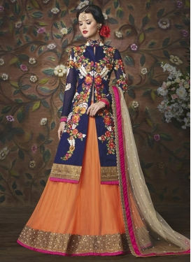 Staring  Net Embroidered Work Kameez Style Lehenga Choli