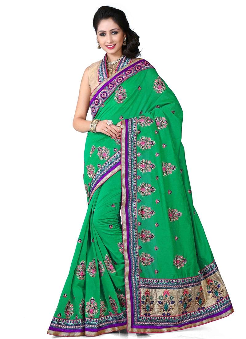 Staring Patch Border Work Green Color Designer Saree