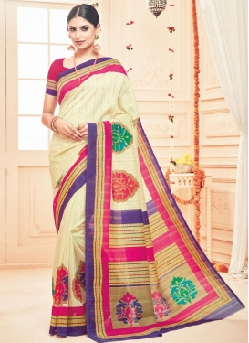 Staring Print Work Art Silk Contemporary Style Saree