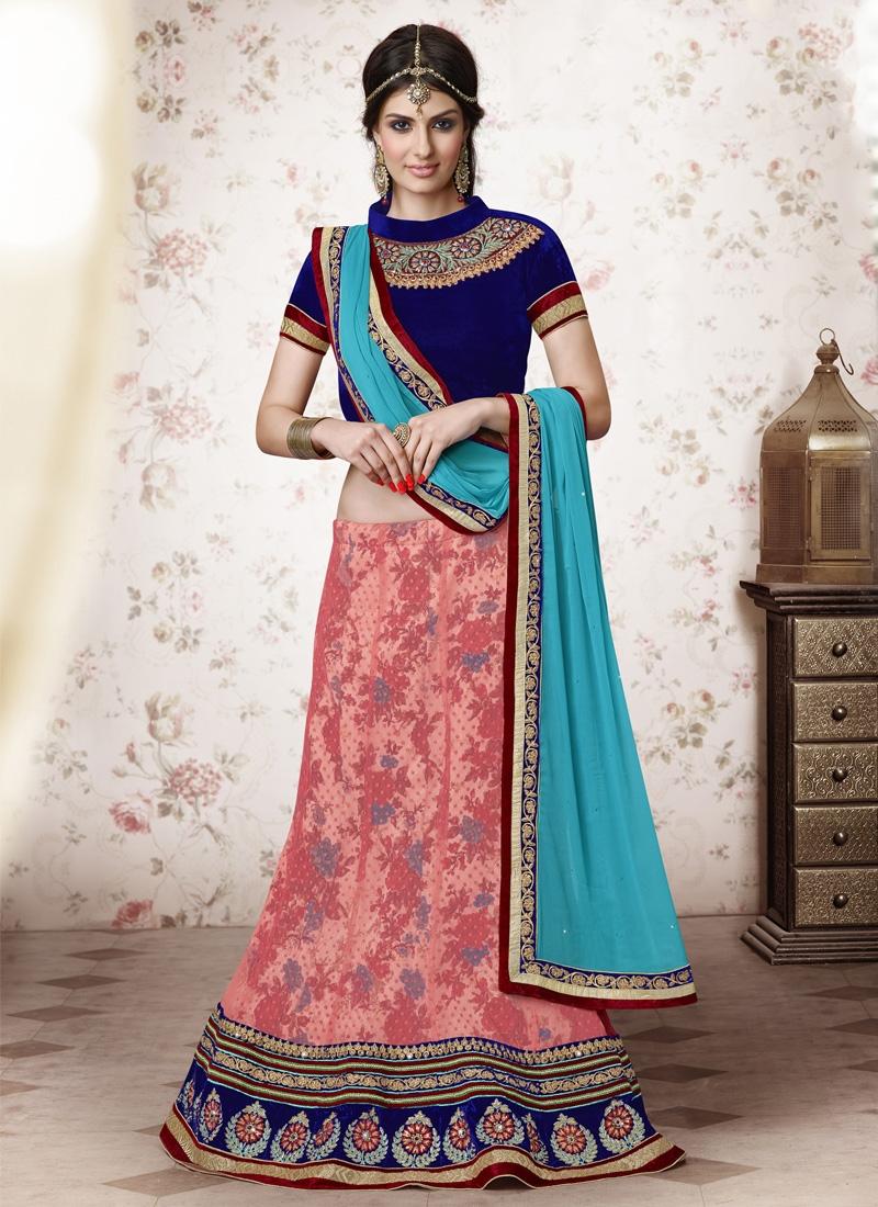 Staring Velvet Patch Work Net Wedding Lehenga Choli