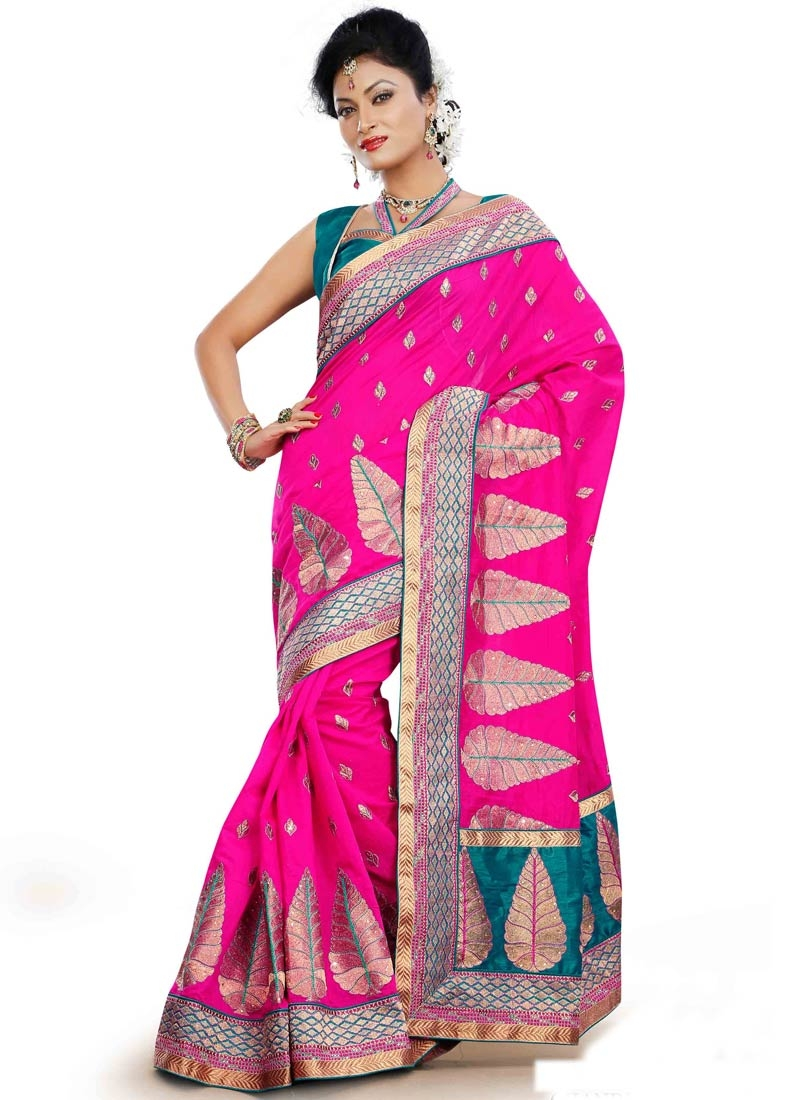 Sterling Booti Work Rose Pink Color Designer Saree