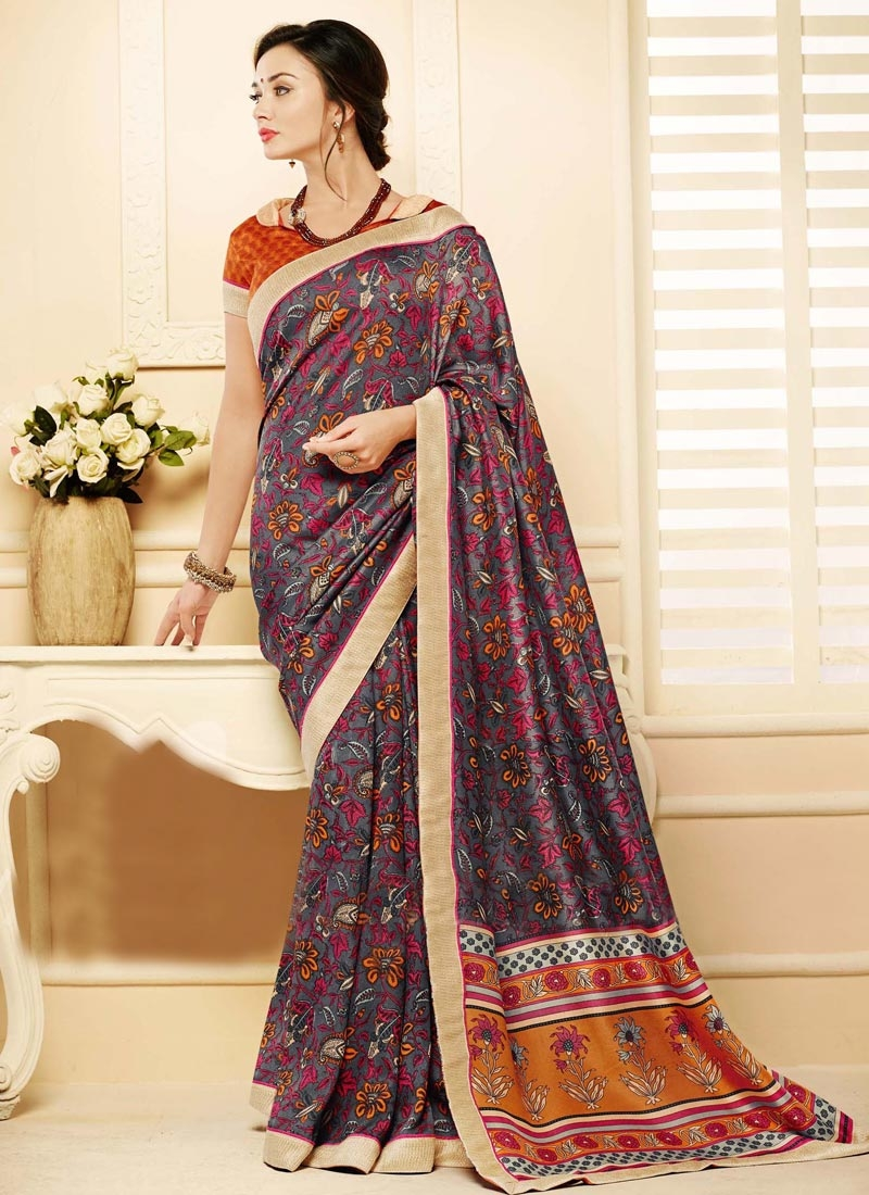 Sterling Grey Color Pasmina Casual Saree