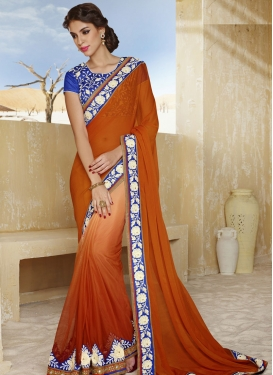 Sterling Orange Color Patch And Lace Work Party Wear Saree