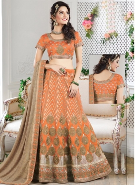 Sterling Raw Silk Beads Work A Line Lehenga Choli