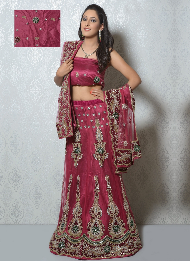 Stone And Cord Work Net Wedding Lehenga Choli