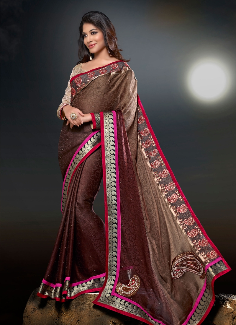 Stone And Lace Enhanced Party Wear Saree