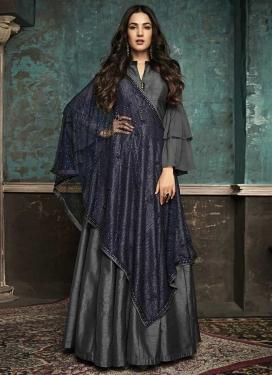 Stone Work Art Silk Long Length Designer Suit