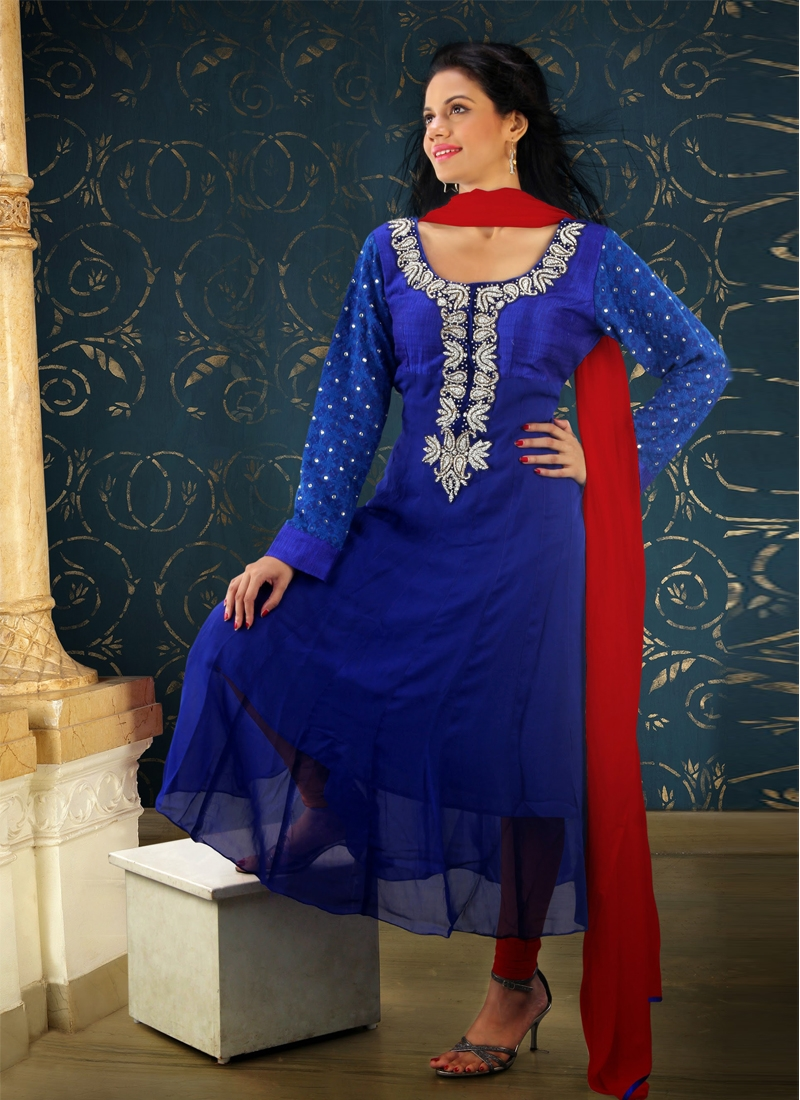 Stone Work Blue Color Readymade Anarkali Suit