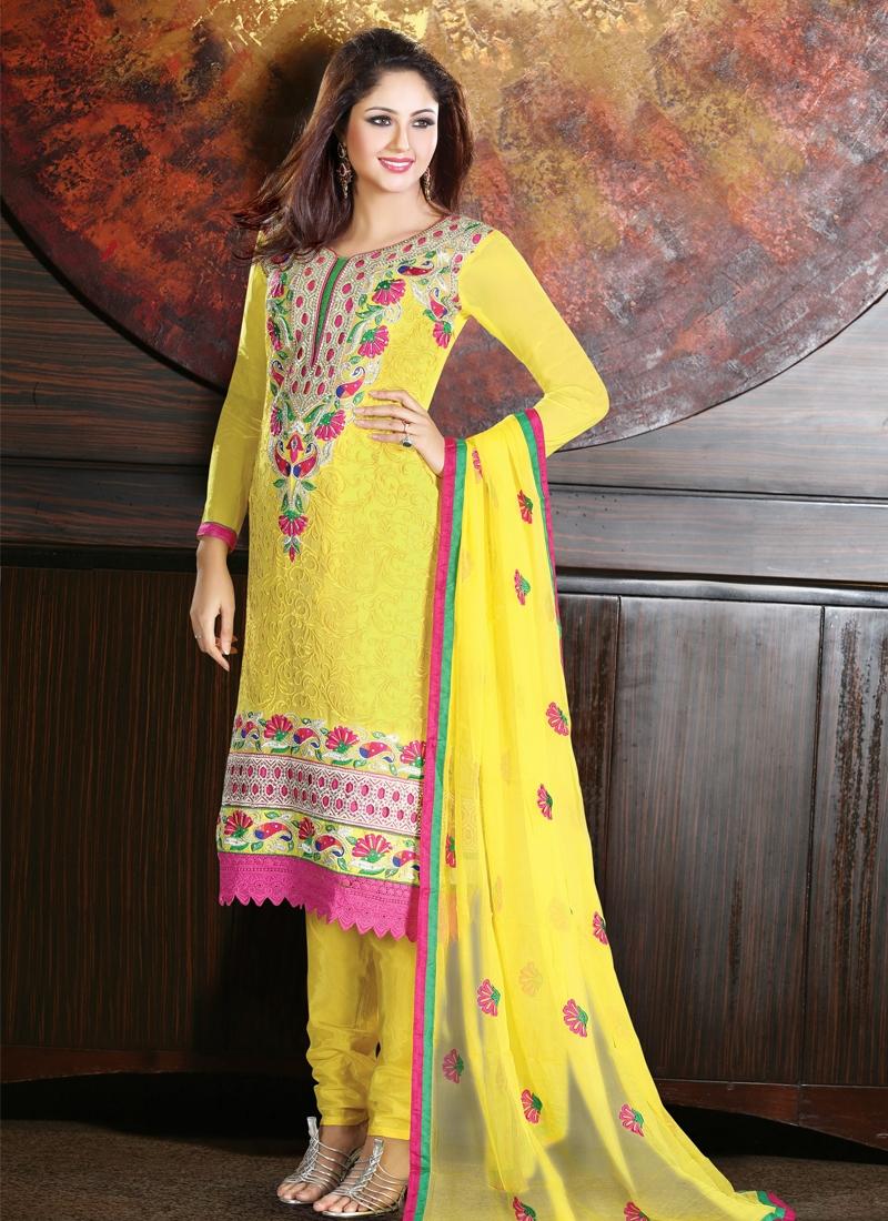Stone Work Faux Georgette Party Wear Salwar Suit