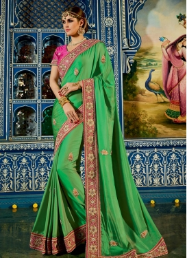Strange Beads Work Chiffon Satin Classic Saree