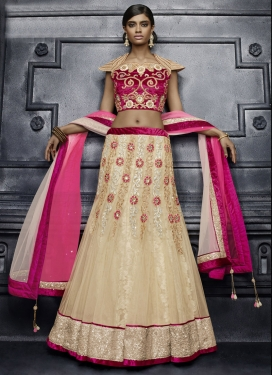 Strange Beige and Fuchsia Embroidered Work Designer A Line Lehenga Choli For Festival