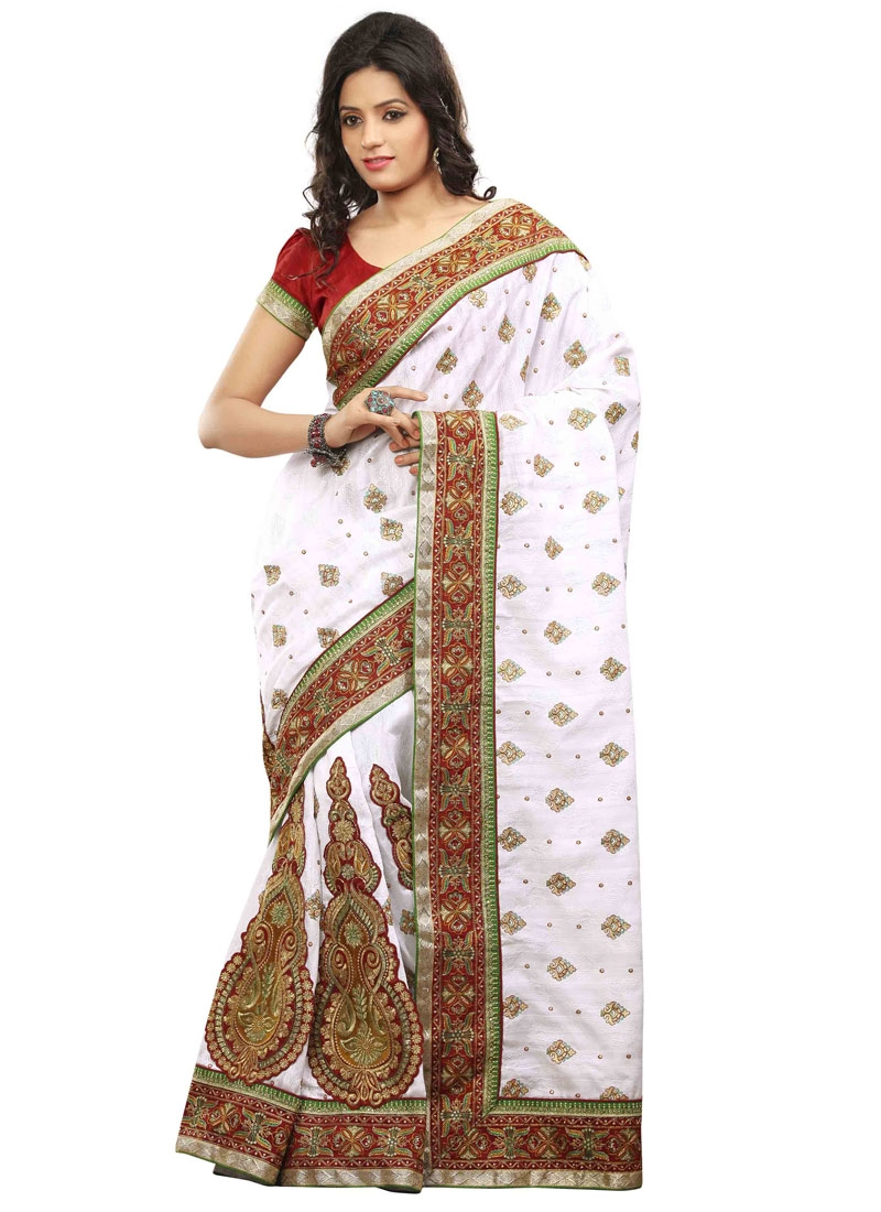 Strange Booti Work White Color Designer Saree