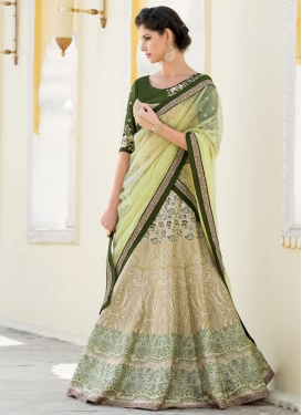 Strange Digital Print Work Beige and Green Trendy A Line Lehenga Choli