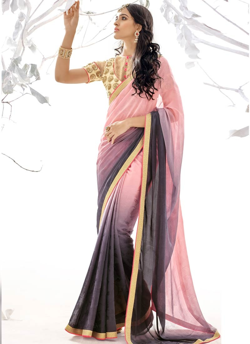 Strange Faux Georgette And Jacquard Party Wear Saree