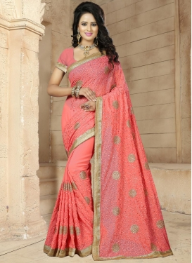Strange Faux Georgette Beads Work Classic Saree