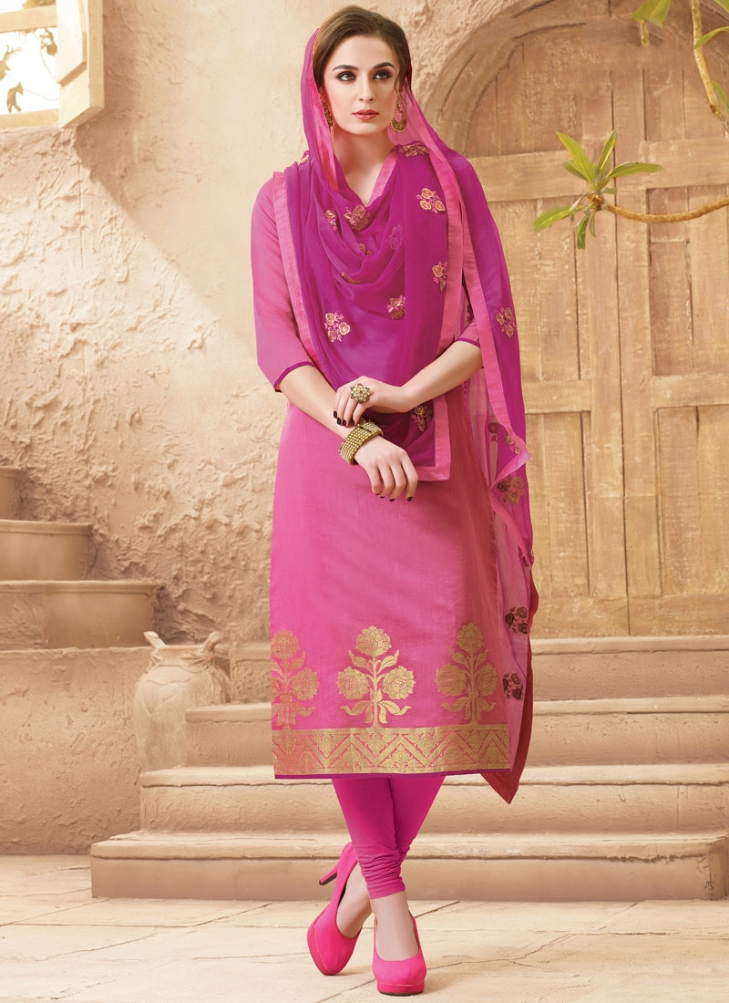 Strange Hot Pink Color Casual Salwar Suit