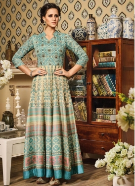 Strange Lace Work Silk Aqua Blue and Cream Long Length Designer Anarkali Suit