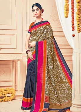 Strange  Navy Blue and Off White Half N Half Saree For Casual