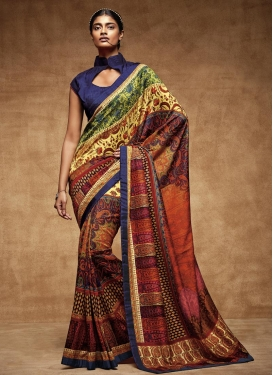 Strange Navy Blue and Orange  Contemporary Style Saree