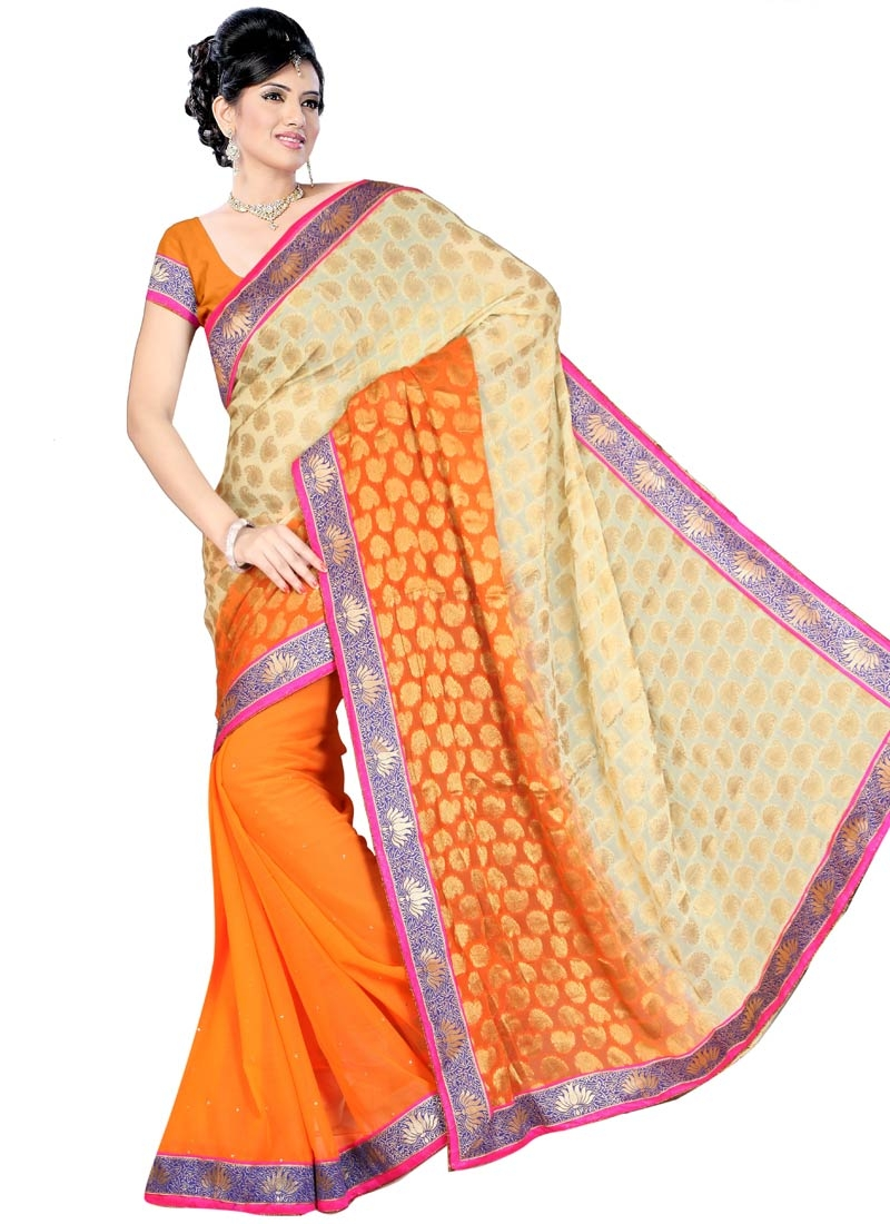 Strange Orange And Cream Color Half N Half Party Wear Saree