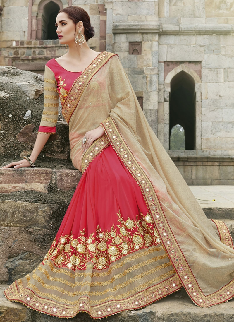 Strange Sequins And Mirror Work Half N Half Wedding Saree