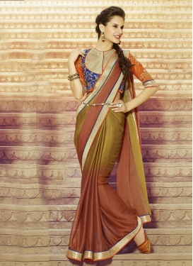 Strange Sequins Work Chiffon Satin Party Wear Saree