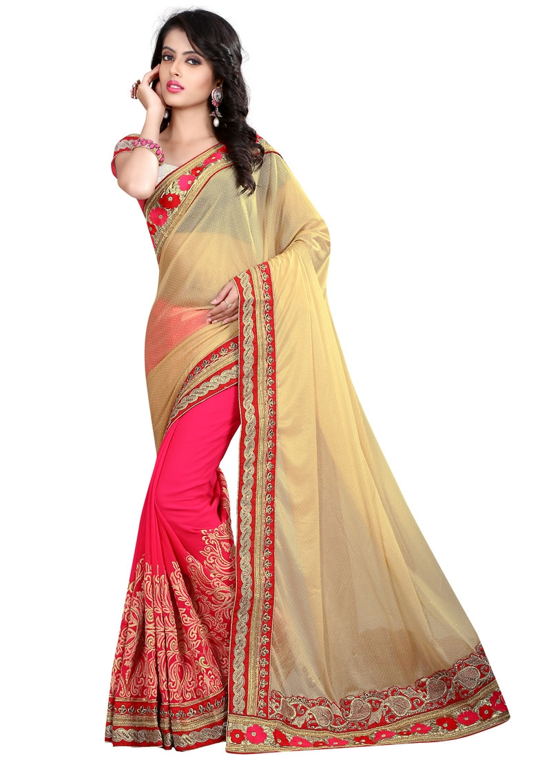 Strange Stone Work Lycra Half N Half Wedding Saree