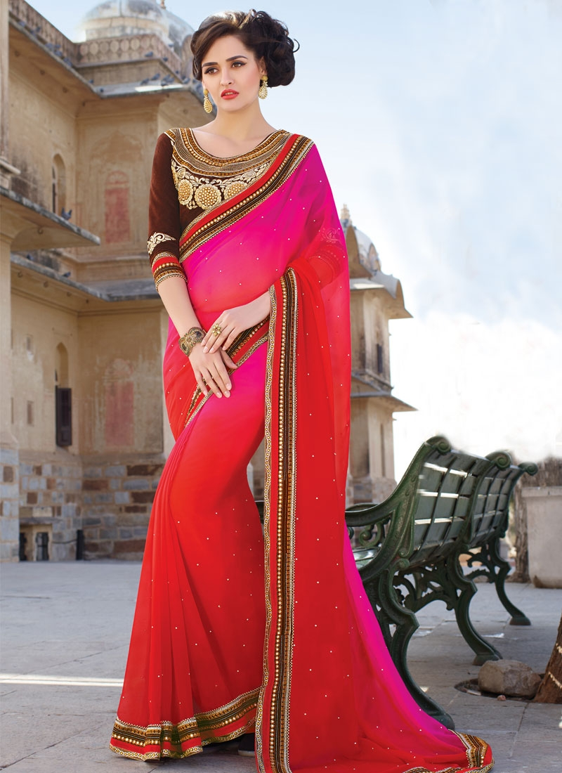 Strange Stone Work Party Wear Saree
