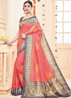 Striking Art Silk Grey and Salmon Classic Saree For Ceremonial