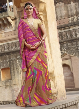 Striking  Bandhej Print Work Half N Half Trendy Saree For Ceremonial