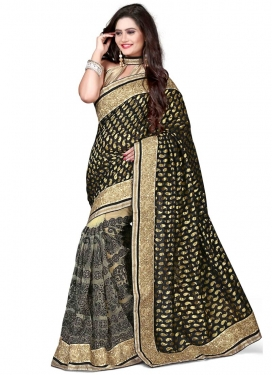 Striking Black Color Viscose Half N Half Designer Saree
