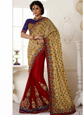 Striking Booti Work Polka Dotted Half N Half Saree