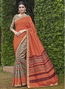 Striking  Coral and Grey Lace Work Half N Half Trendy Saree