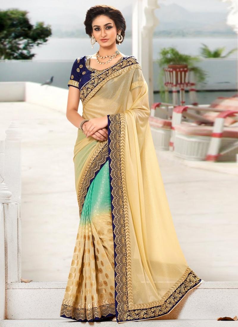 Striking Cream Color Jacquard Designer Saree