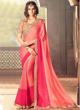 Striking Embroidered Work Rose Pink and Salmon Traditional Designer Saree
