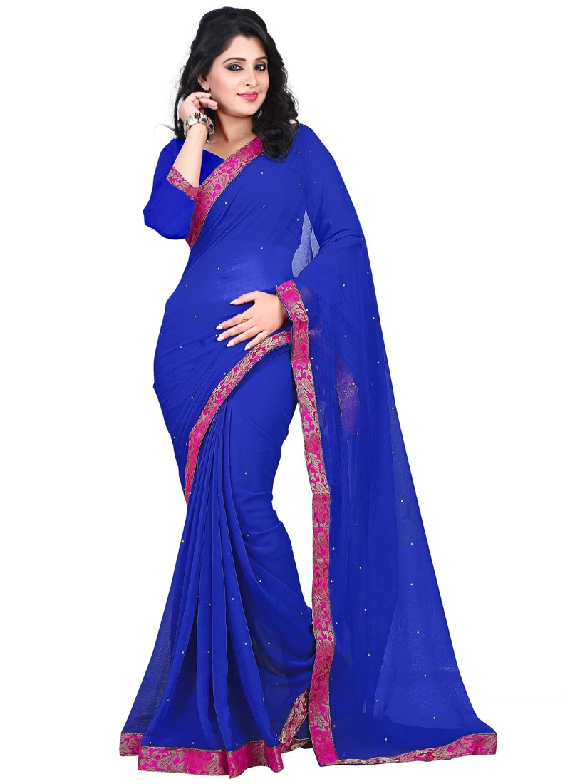 Striking Faux Chiffon Casual Saree