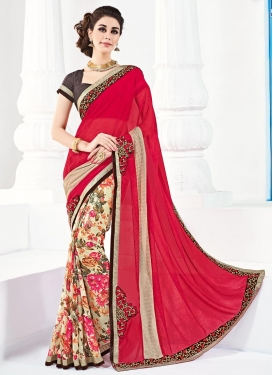 Striking Faux Georgette Cream and Red Half N Half Trendy Saree