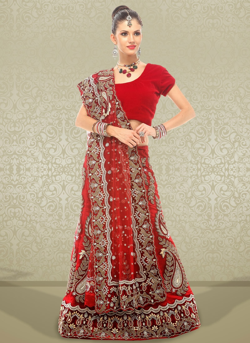 Striking Floral Patch Bridal Lehenga Choli