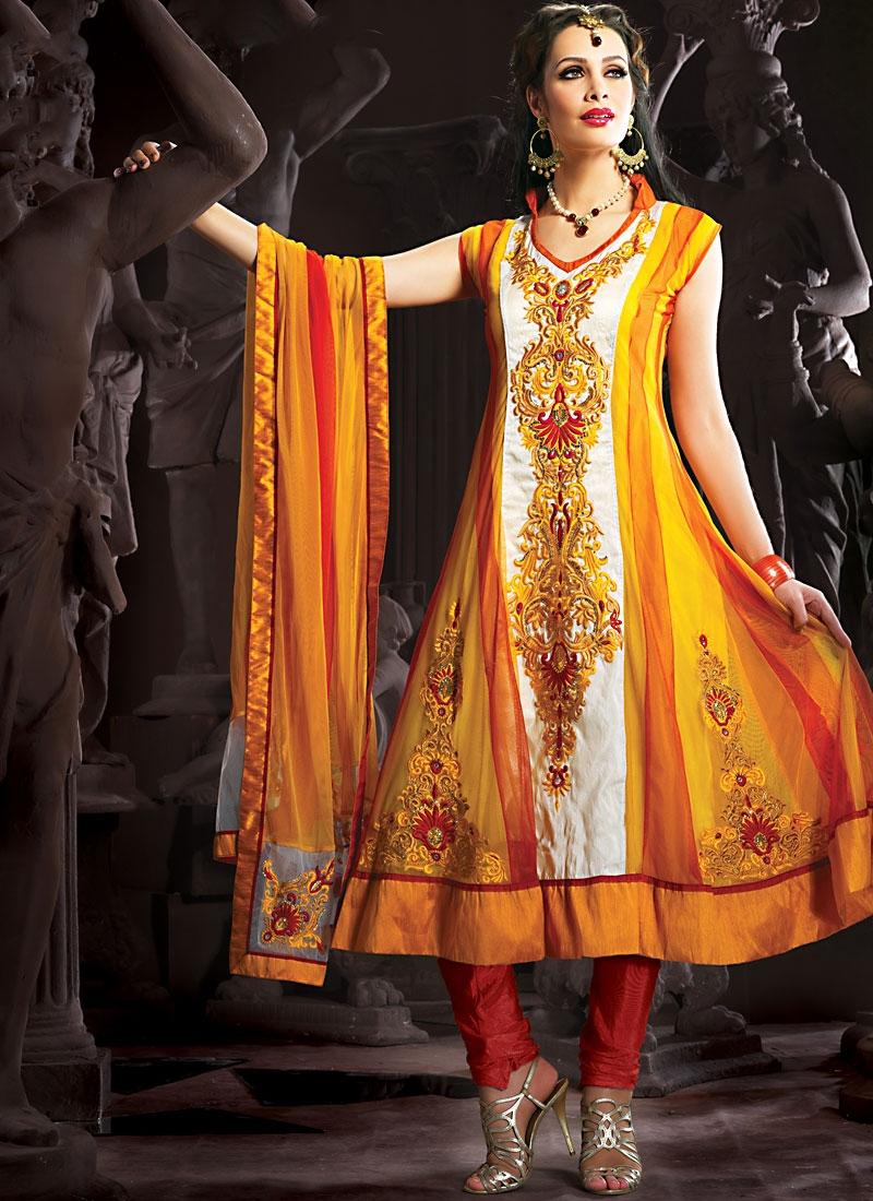 Striking Gold And Orange Color Salwar Kameez