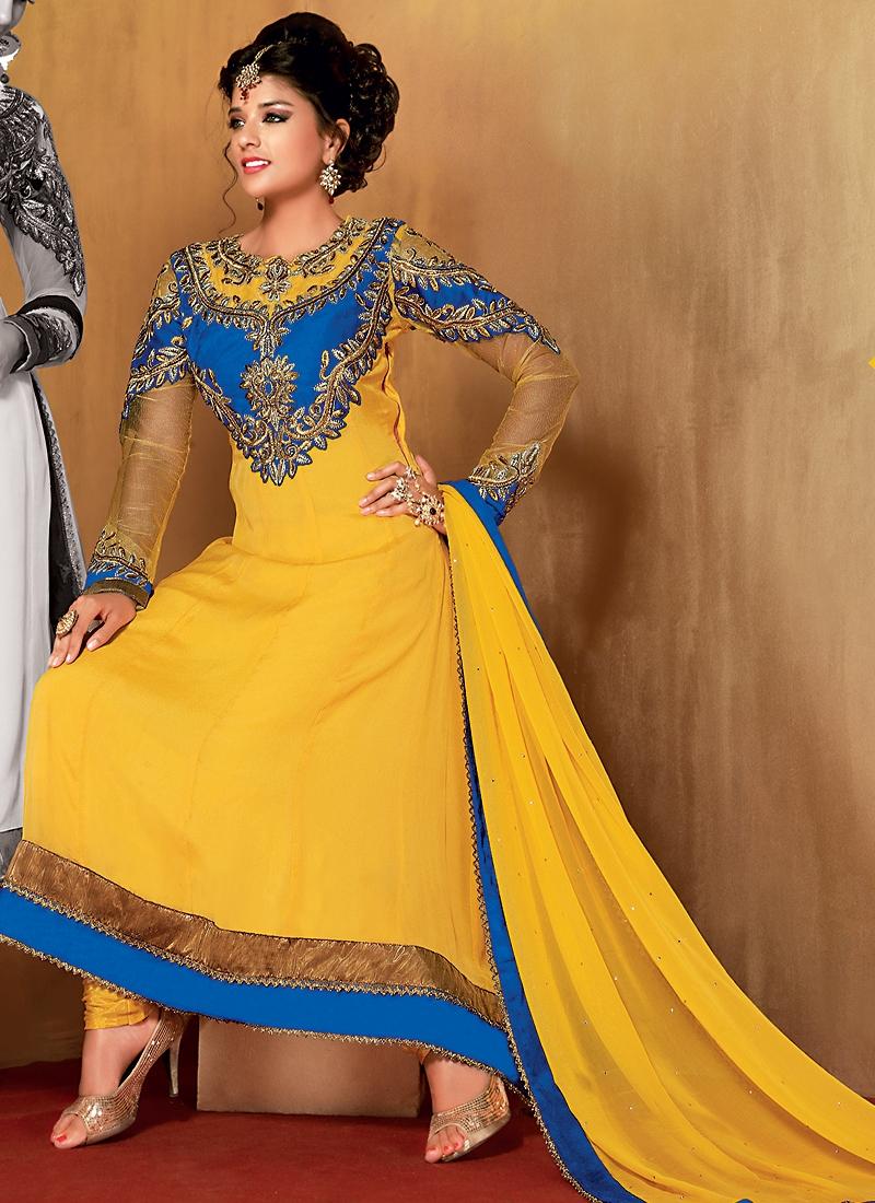 Striking Gold Color Designer Salwar Kameez